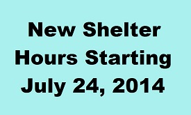 News - Updated Shelter hours